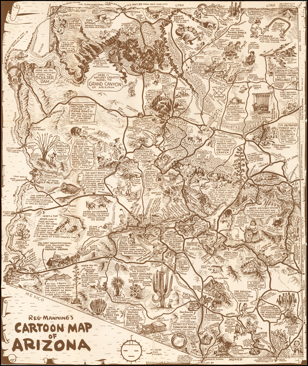 Reg Manning's Cartoon Map of Arizona By Reginald Manning