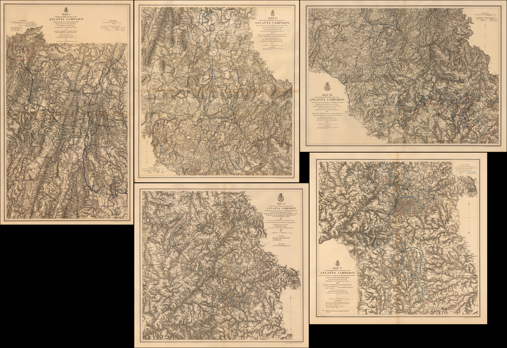 (Set of 5 Atlanta Campaign Maps)  Map(s) Illustrating the Military Operations of the Atlanta Campaign. 1864.   By United States War Dept.