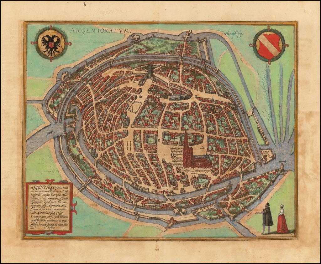 [Strasbourg]  Argentoratum  By Georg Braun  &  Frans Hogenberg