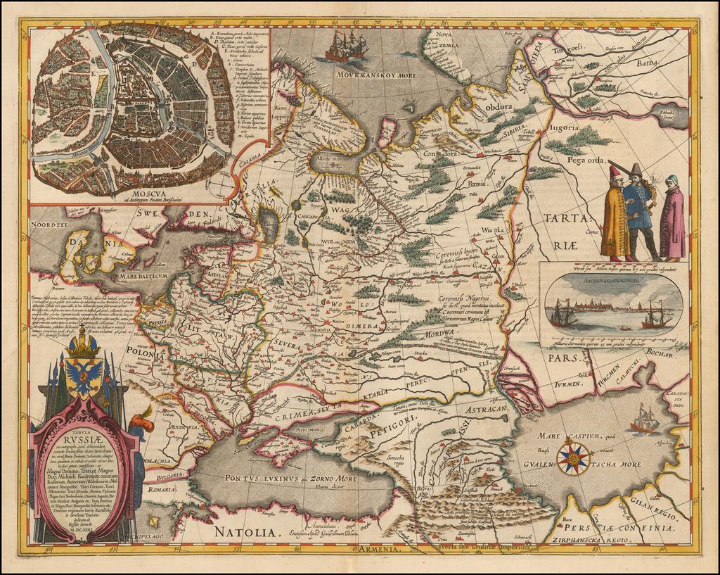 Tabula Russiae ex autographo, quod delineandum curavit Foedor filius Tzaris Borois desumta . . .  MDCXIIII By Willem Janszoon Blaeu