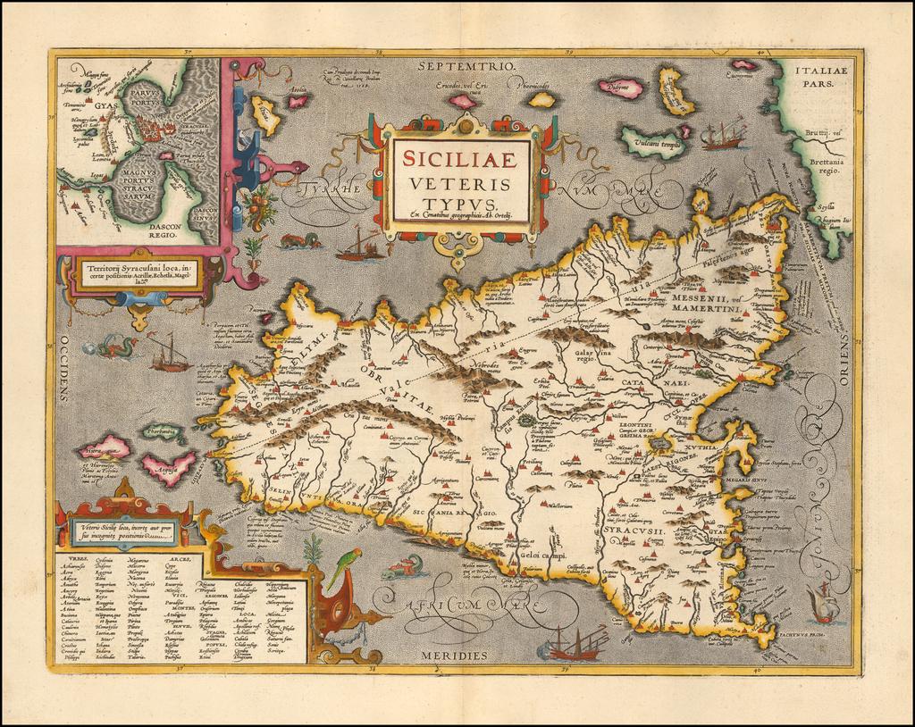 Siciliae Veteris Typus . . . . By Abraham Ortelius