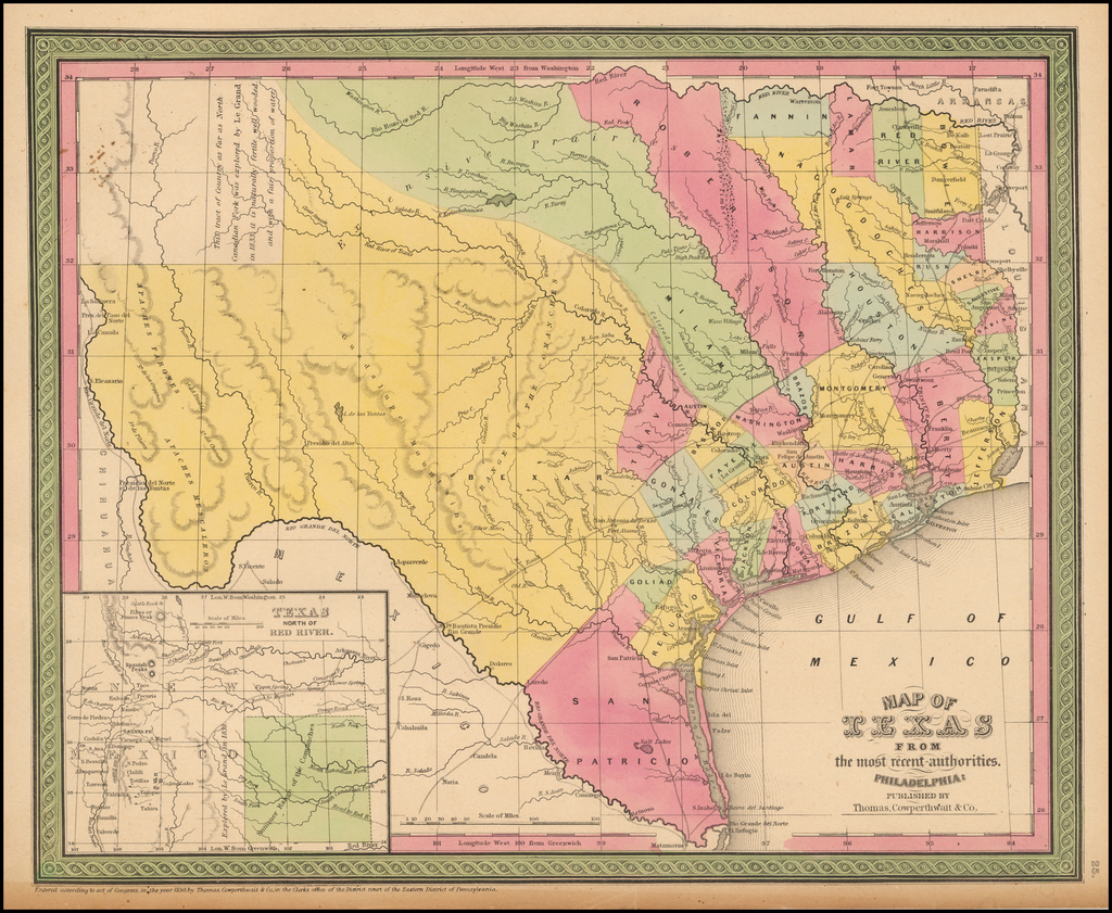Map of Texas From the most recent authorities. By Thomas, Cowperthwait & Co.