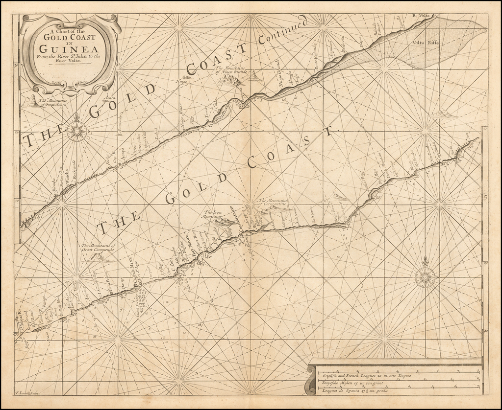 A Chart of the Gold Coast in Guinea From the River St. John to the River Volta By Samuel Thornton