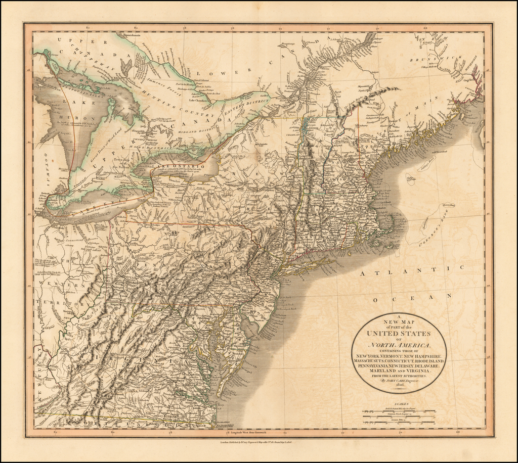 A New Map of Part of the United States of North America Containing New York, Vermont, New Hampshire, Massachusets, Connecticut, Rhode Island, Pennsylvania, New Jersey, Delaware, Maryland and Virginia.  From The Latest Authorities . . . 1806 By John Cary