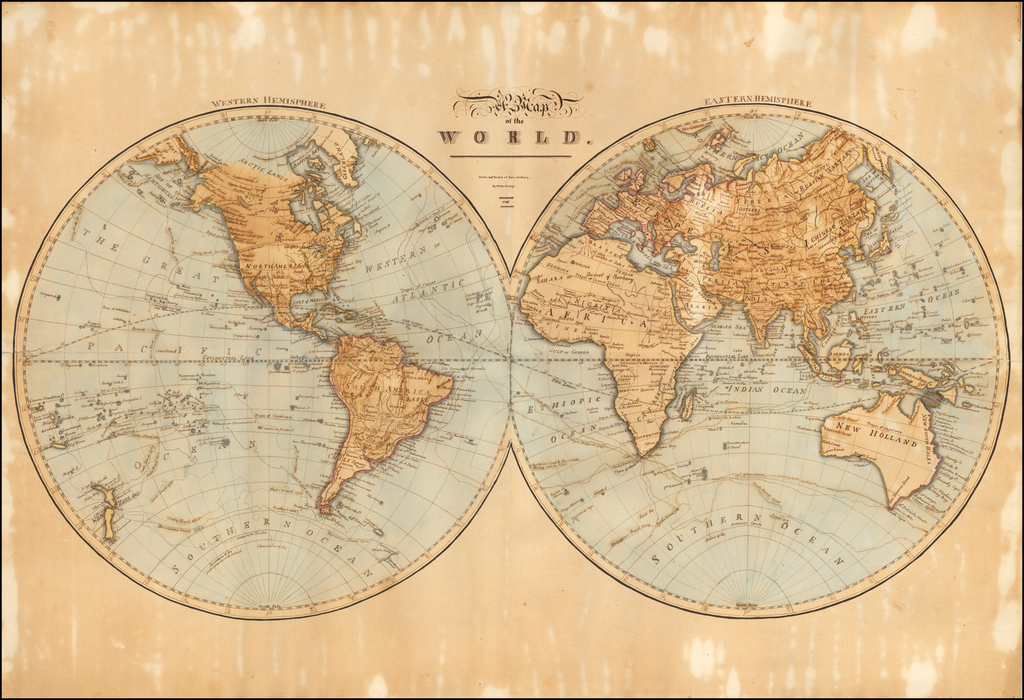 (Hand Drawn World Map)  A Map of the World. Drawn and Painted at Lynn Academy.  By Phebe Phillips 1816 By Phebe Phillips