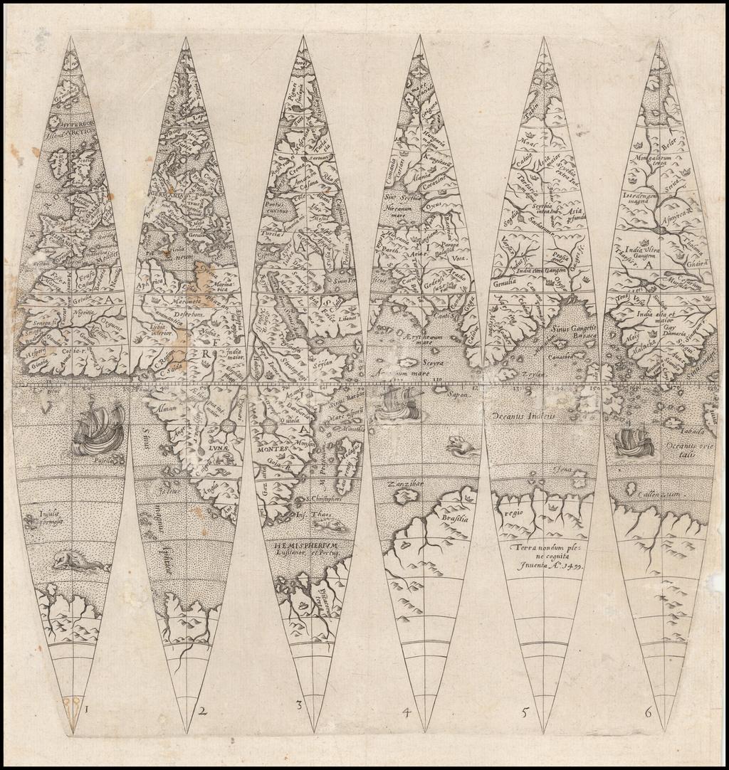 [Eastern Hemisphere Globe Gores] (Nova et integra universi Orbis descriptio) By Johann Oterschaden