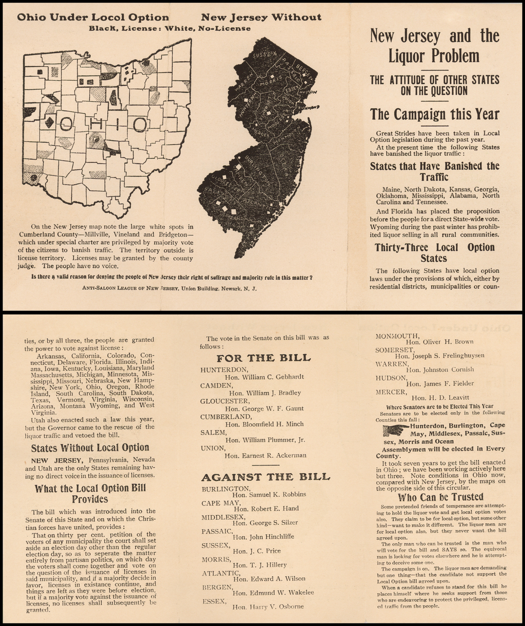 New Jersey and the Liquor Problem (with New Jersey map and Ohio map) By Anti-Saloon League of New Jersey