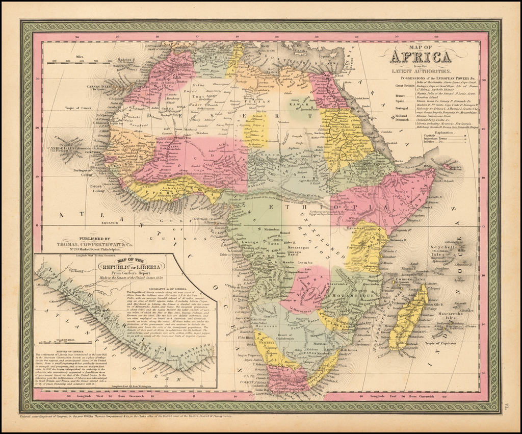 Map of Africa from the Latest Authorities By Thomas, Cowperthwait & Co.