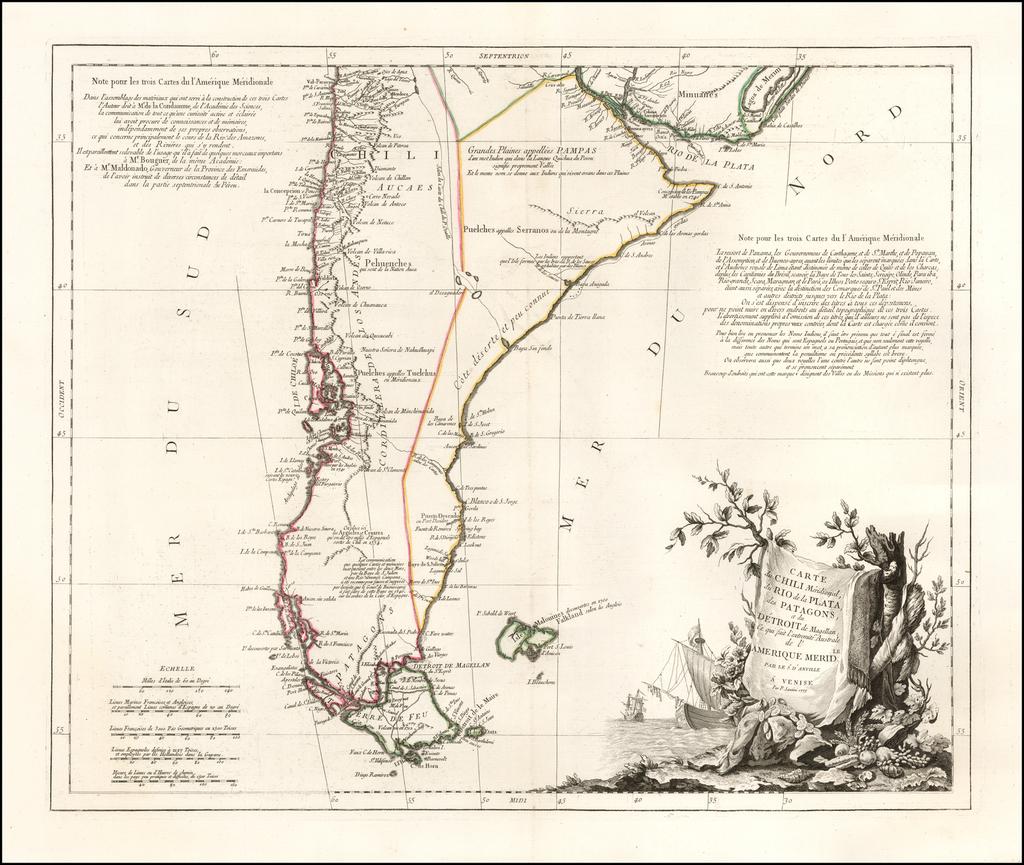 Carte du Chili Meridional, du Rio de la Plata, des Patagons, et du Detroit de Magellan; ce qui fait l'extremite Australe de l'Amerique Meridile. . . . 1779 By Paolo Santini