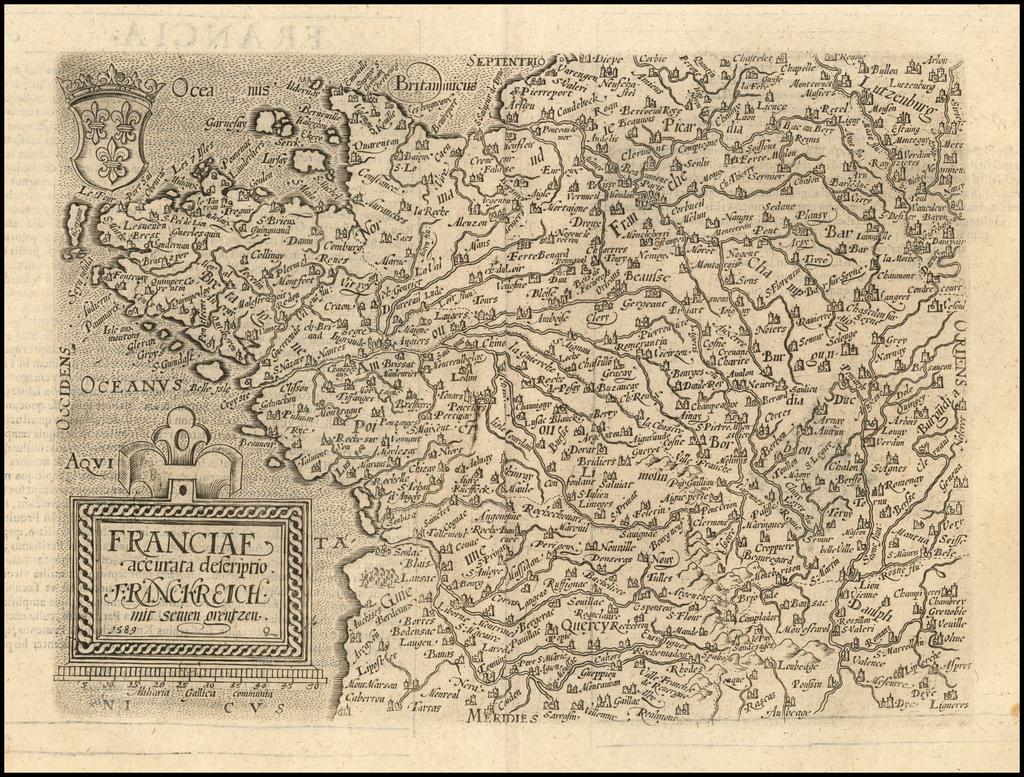 Franciae accurata descriptio.  Franckreich mit semen grentzen.  1589 By Matthias Quad