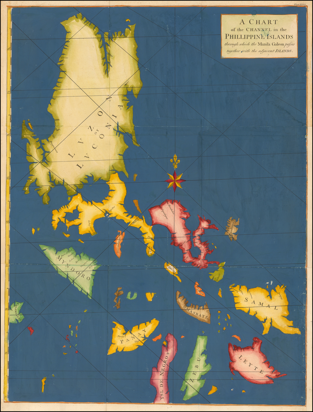 A Chart of the Channel in the Phillippine Islands through which the Manila Galeon passes together with the adjacent Islands. (Full Color Example)   By George Anson / Richard William Seale