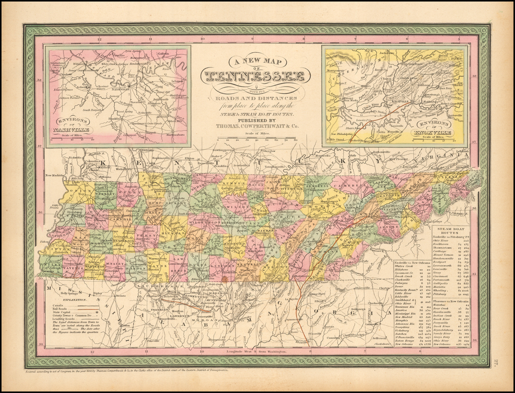 A New Map of Tennessee with its Roads & Distances from place to place along the Stage & Steamboat Routes. By Thomas, Cowperthwait & Co.