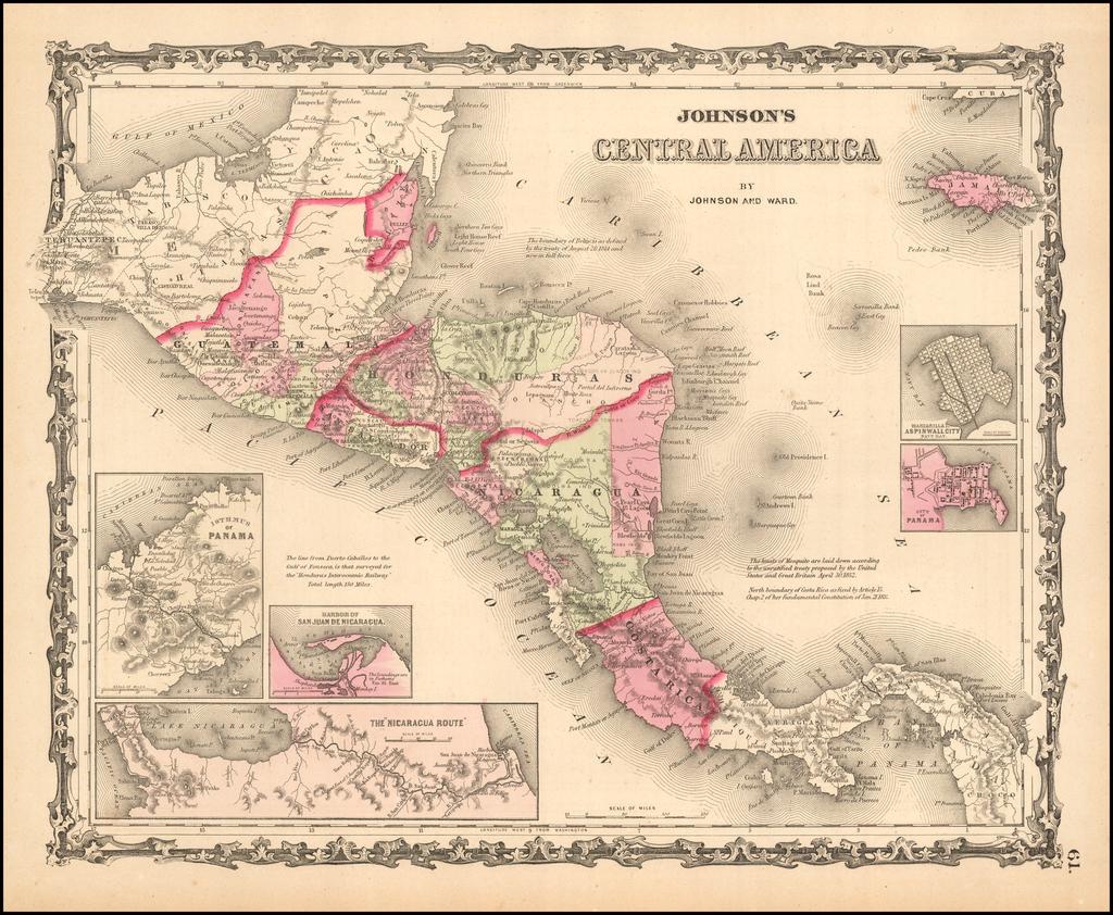 Johnson's Central America By Benjamin P Ward  &  Alvin Jewett Johnson