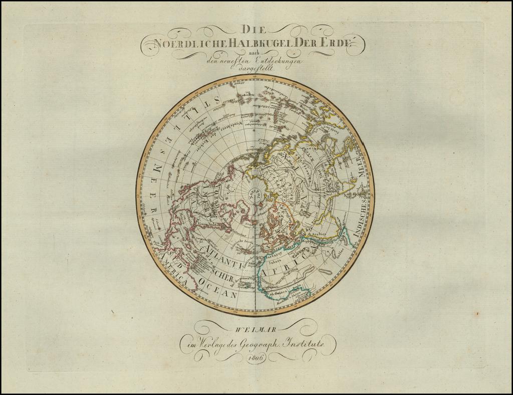 Die Noerdliche Halbkugel Der Erde nach den neuesten Entdeckungen dargestellt By Weimar Geographische Institut