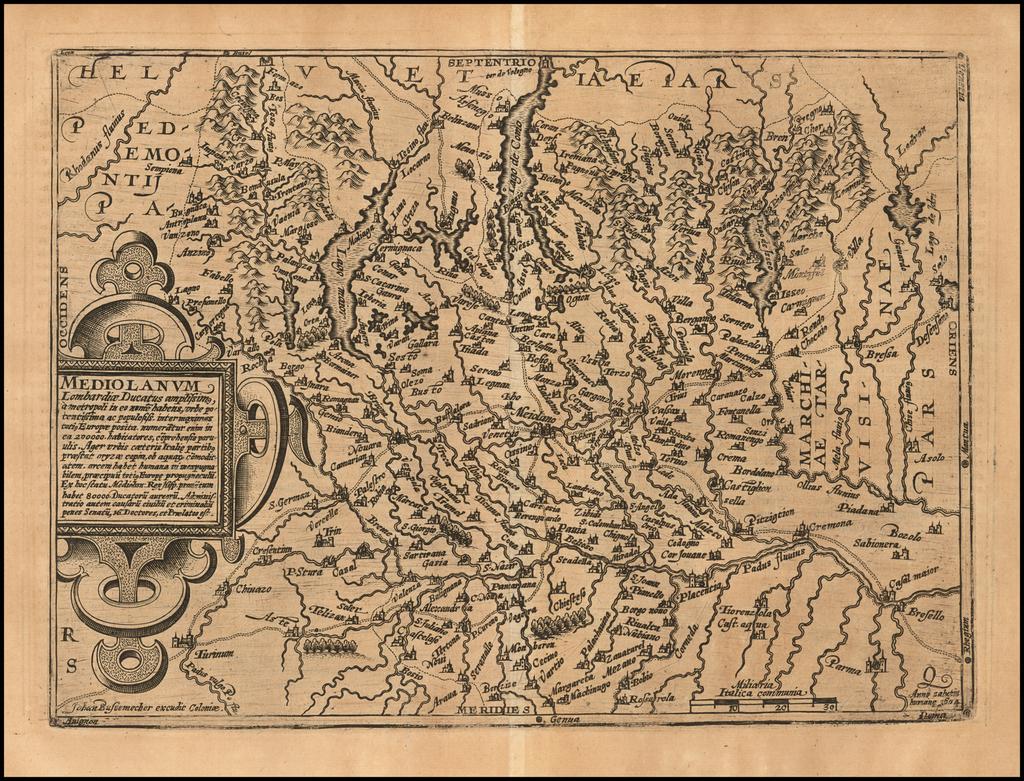 Mediolanum Lombardiae Ducatus amplissima By Johann Bussemachaer