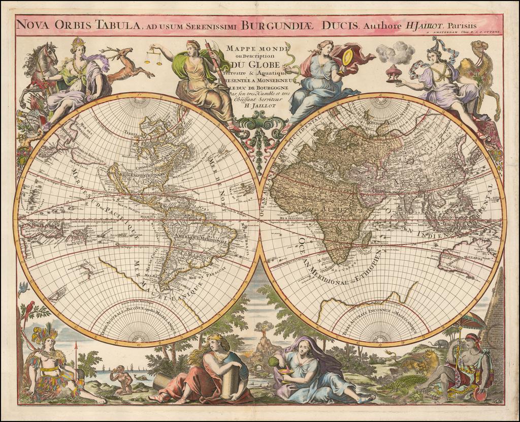 Nova Orbis Tabula . . .  /  Mappe Monde ou Description Du Globe Terrestre & Aquatique  . . .  By Reiner & Joshua Ottens / Alexis-Hubert Jaillot