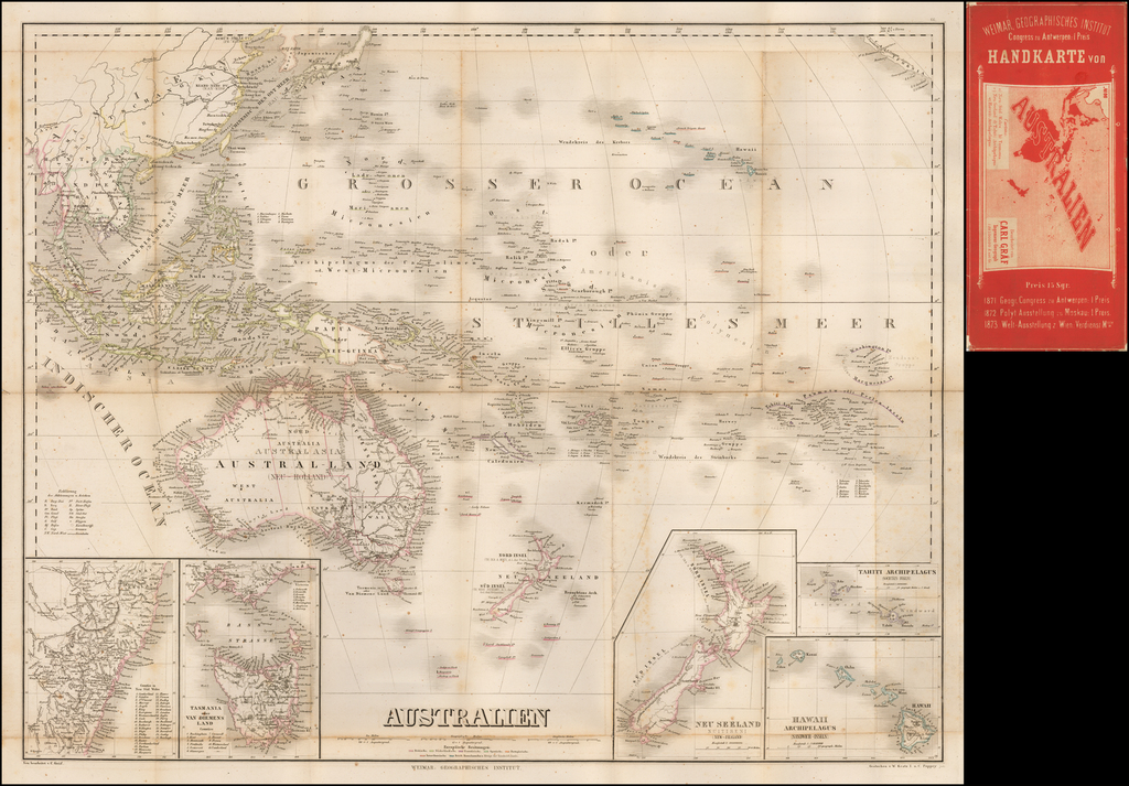 Australien (with Hawaii, New Zealand, New South Wales, etc) By Weimar Geographische Institut