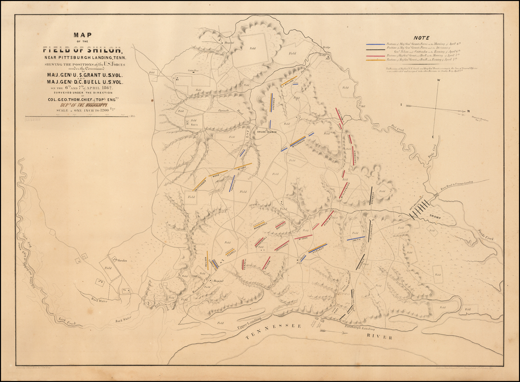 Map of the Field of Shiloh Near Pittsburgh Landing, Tenn. Shewing The Positions of the U.S. Forces under the Command of Maj. Genl. U.S. Grant U.S. Vol. Maj. Genl. D.C. Buell U.S. Vol. on the 6th and 7th of April 1862. Surveyed Under the Direction of Col. Geo. Thom. Chief of Topl. Engrs. [Dept. of the Mississippi] By Otto H. Matz