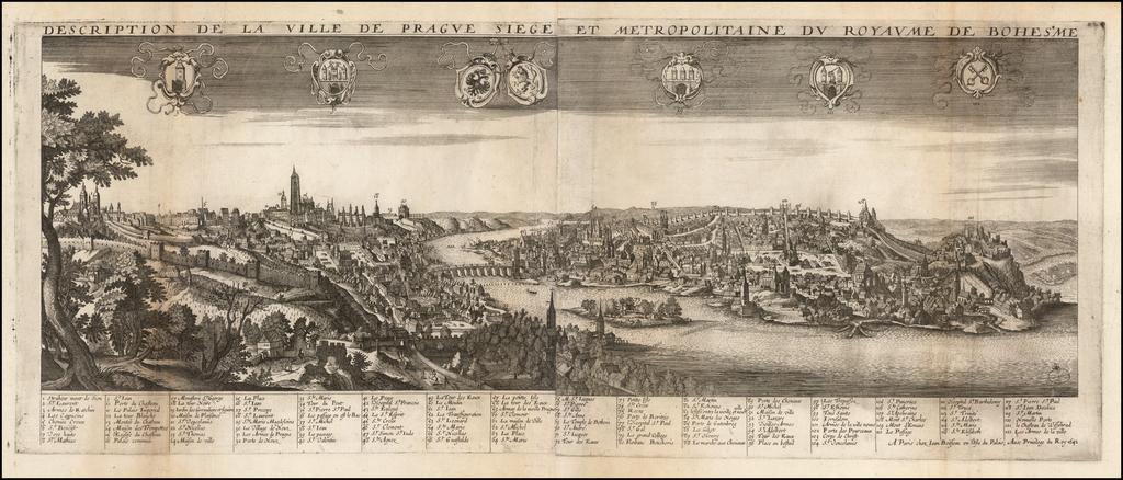 Description De La Ville De Prague Siege et Metropolitaine Du Royaume De Bohesme . . . 1642 By Jean Boisseau