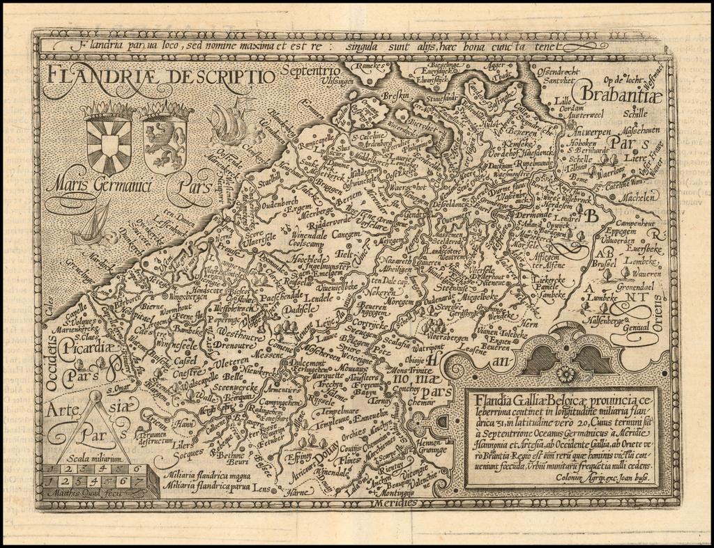 Flandria Gallia Belgica Provincia Celeberrima Continet . . .  By Matthias Quad / Janus Bussemacher