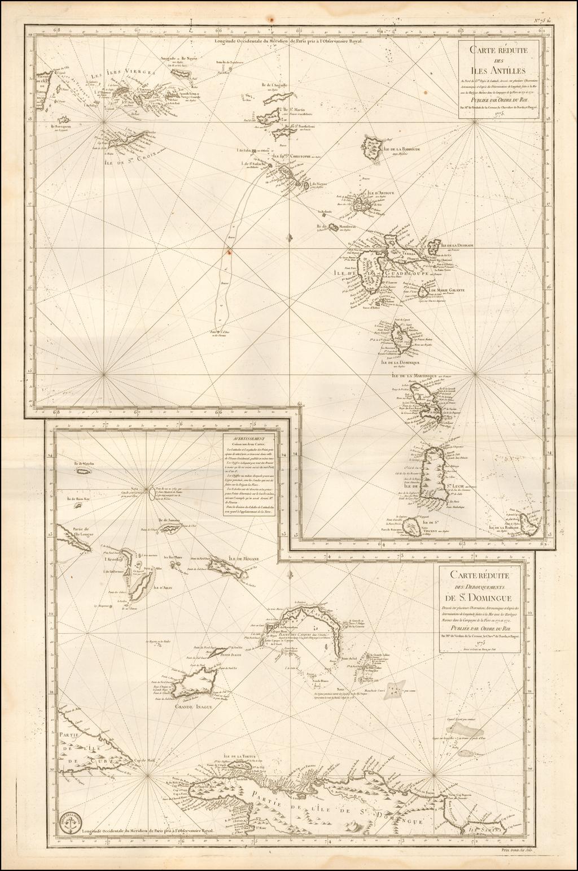 Carte  Reduite Des Iles Antilles . . .  [and] Carte reduite des debouquements de St. Domingue . . . . 1775 [Includes Bahamas] By Depot de la Marine