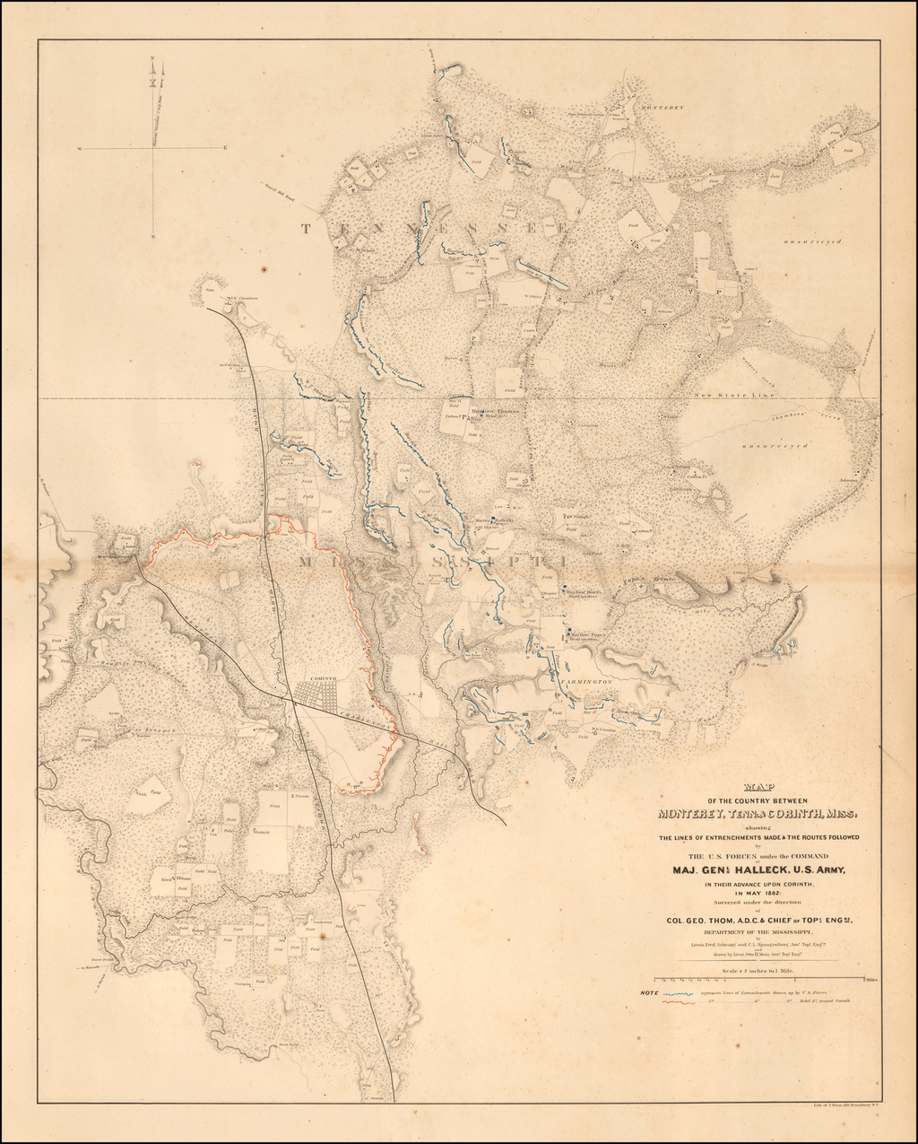 Map of the Country between Monterey, Tenn. & Corinth, Miss; showing The Lines of Entrenchments Made & The Routes Followed by the U.S. Forces under the Command of Maj. Genl. Halleck, U.S. Army, in their advance upon Corinth in May 1862 . . .  By Julius Bien & Co.