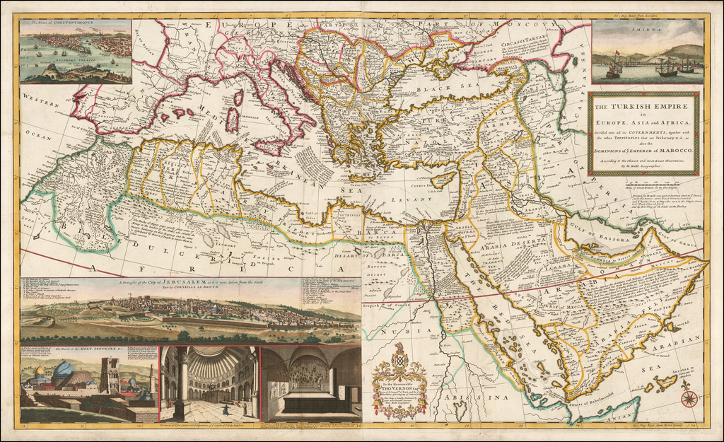 The Turkish Empire in Europe, Asia and Africa, Dividid into all its Governments, together with the other Territories that are Tributary to it, as also the Domnions of the Emperor of Marocco . . . By Herman Moll