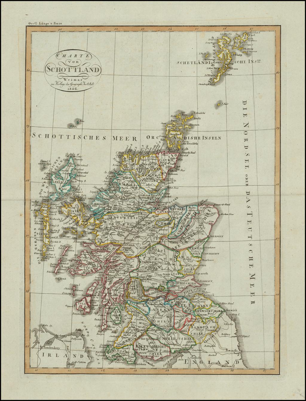 Charte von Schottland . . . 1806 By Weimar Geographische Institut
