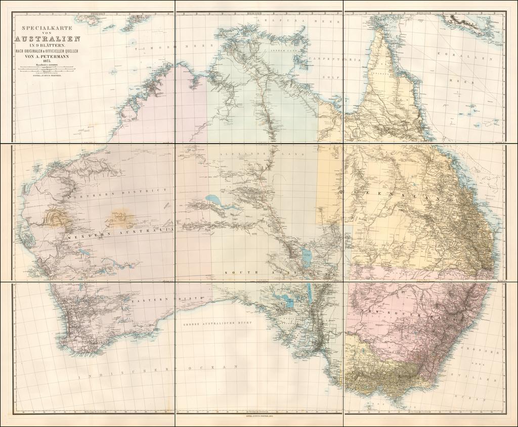 Specialkarte von Australien in 9 Blattern.  Nach Original & Officielen Quellen Von A. Petermann 1875 By Augustus Herman Petermann