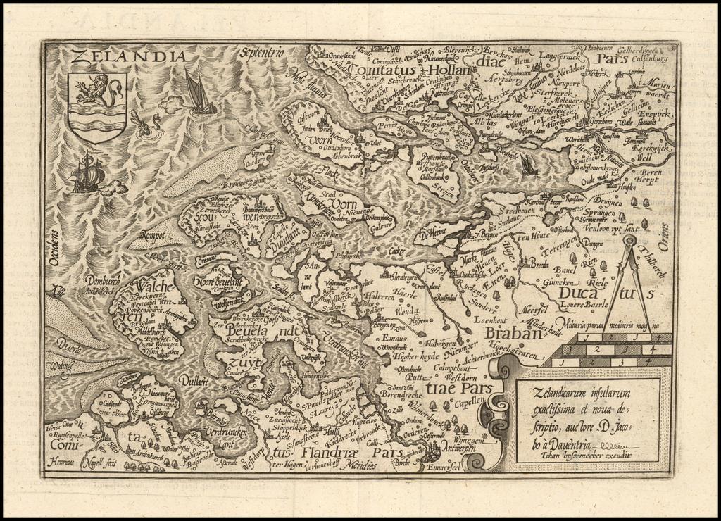 Zelandicarum insularum exactissima et nova descriptio, acutore D. Jacobo a Daventria . . .  By Matthias Quad / Johann Bussemachaer