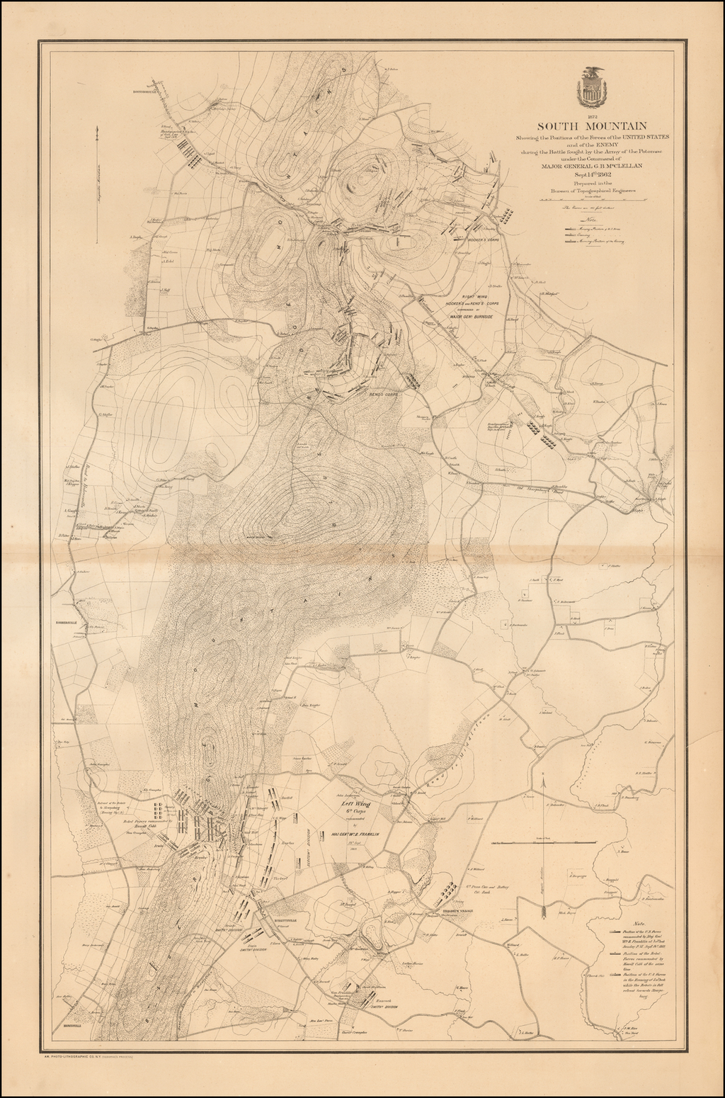 South Mountain showing the positions of the forces of the United States and the enemy during the battle fought by the Army of the Potomac under the command of Major General G. B. McClellan, Sept. 14th 1862 By United States Bureau of Topographical Engineers