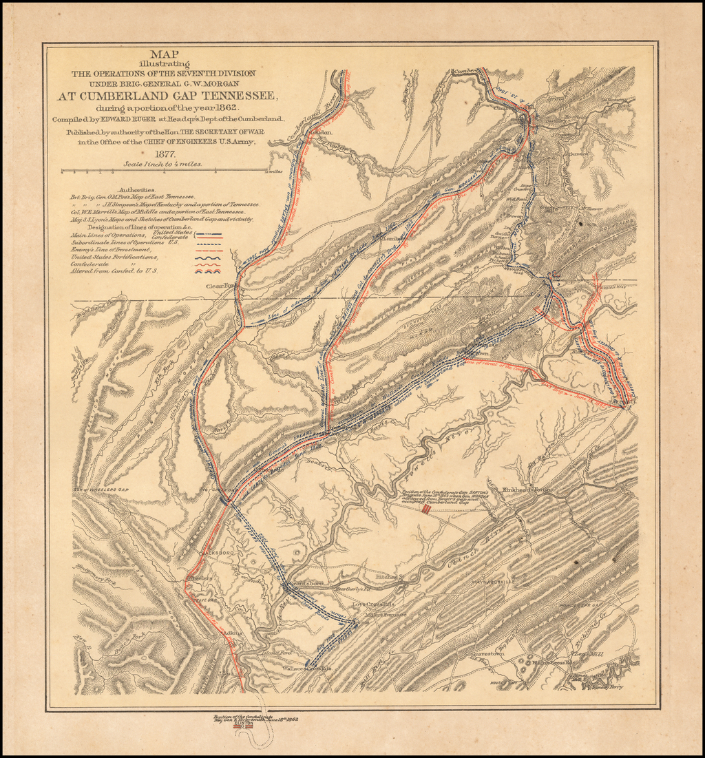 Map illustrating the operations of the Seventh Division under Brig. General G. W. Morgan at Cumberland Gap, Tennessee, during a portion of the year 1862 By Edward Ruger