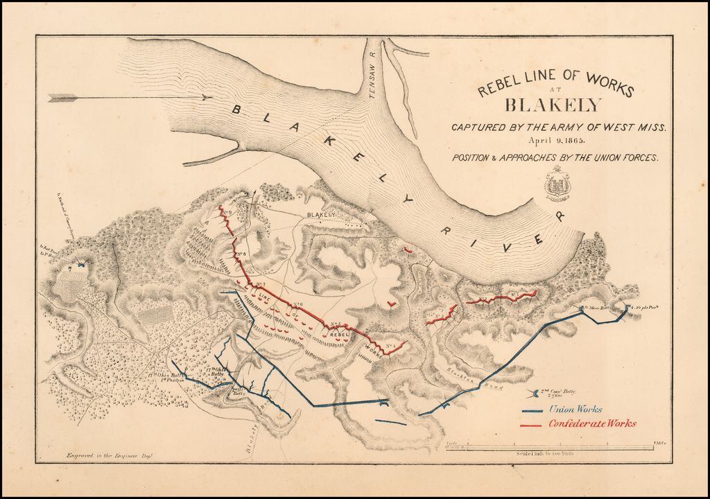 Rebel Line of Works At Blakely Captured By The Army of West Miss.  April 9, 1865.  Position & Approaches By The Union Forces By United States Bureau of Topographical Engineers