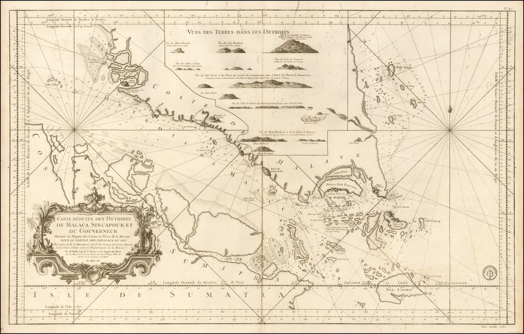 Carte Reduite Des Detroits De Malaca, Sincapour, Et Gouverneur . . . M DCC LV By Jacques Nicolas Bellin / Depot de la Marine