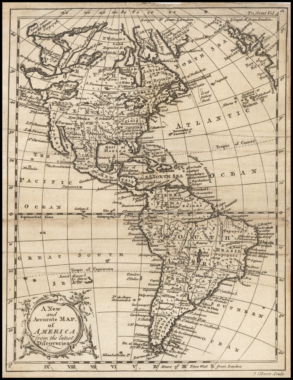 A New and Accurate Map of America from the latest Discoveries By John Gibson