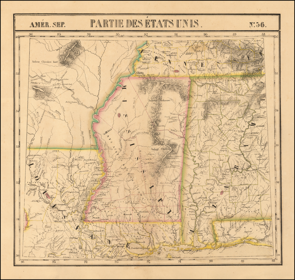 [Alabama, Mississippi, Arkansas, Louisiana and part of Tennessee and Western Florida]  Amer. Sep. No. 56 Partie des États Unis  By Philippe Marie Vandermaelen