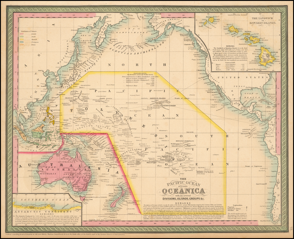 The Pacific Ocean Including Oceanica with its several Divisions, Groups, &c. By Thomas Cowperthwait & Co.