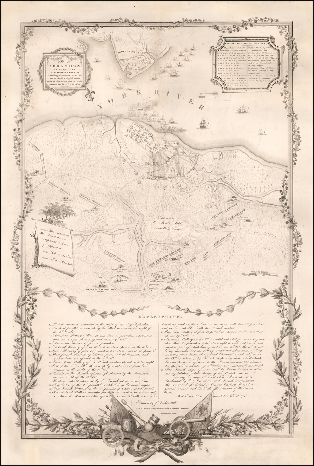 Plan of York Town in Virginia And Adjacent Country,  Exhibiting the operations of the American French and British armies, during the Siege of that place in October 1781.  Surveyed from the 2nd to the 28th Octr. By Henry Schenk Tanner / Sebastian Bauman / J.F. Renault