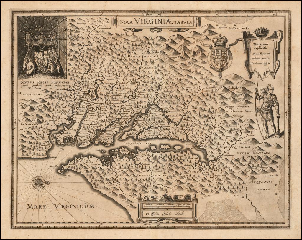 Nova Virginiae Tabula  (First State!) By Jodocus Hondius