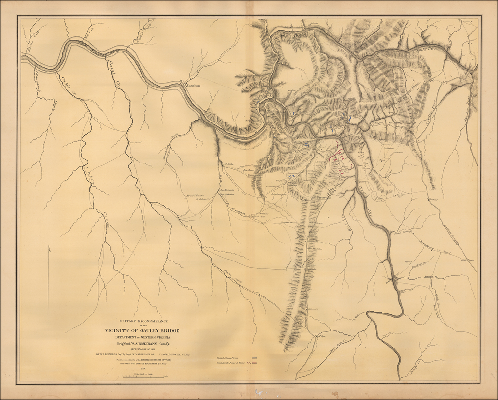 Military reconnaissance in the vicinity of Gauley Bridge, Department of Western Virginia, Brig. Gen'l W.S. Rosecrans, Comd'g., Sept. 11th to Nov. 15th, 1861 By U.S. Army Corps of Topographical Engineer