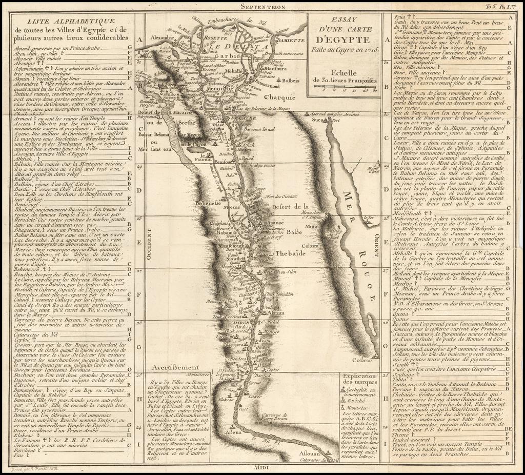 Essay D'Une Carte D'Egypte Faite au Cayre en 1715 By Jacques Nicolas Bellin