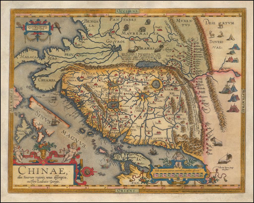 Chinae, olim Sinarum regionis nova descriptio auctore Ludovico Georgio . . . 1584 By Abraham Ortelius