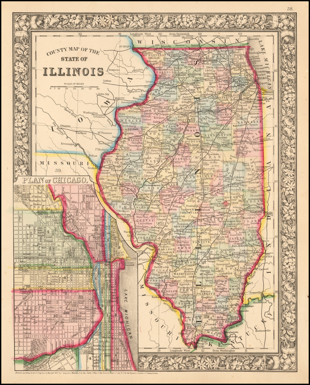 County Map of the State of Illinois By Samuel Augustus Mitchell Jr.
