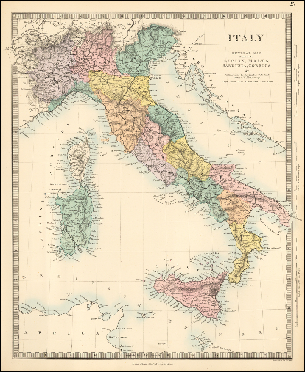 Sicily On Map Of Italy.Italy General Map Including Sicily Malta Sardinia Corsica C