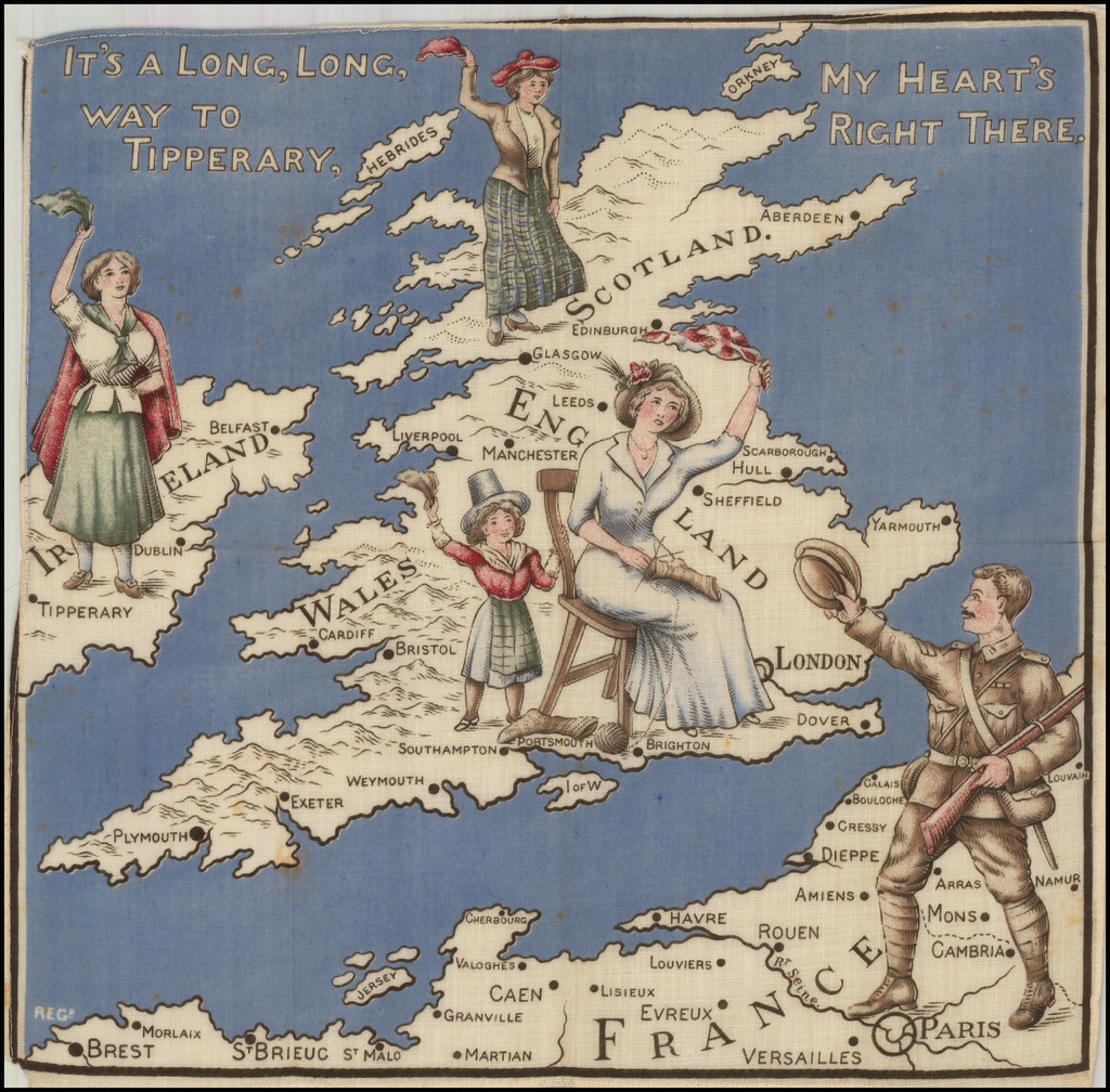 (British Isles Map on Linen)  It's A Long, Long way to Tipperary, My Heart's Right There. By