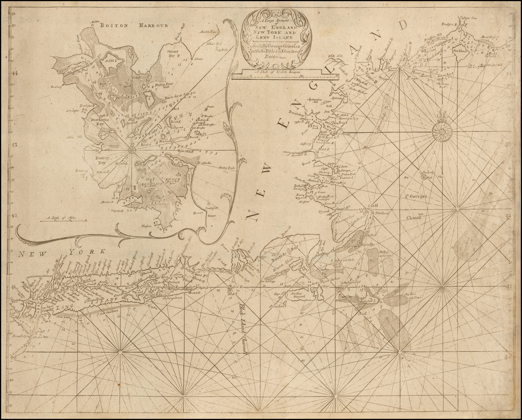 New England, Connecticut, Maine, Massachusetts, New Hampshire and New York State Map By Boulter Grierson
