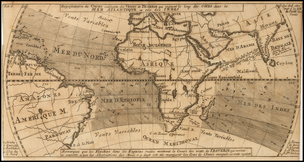 Representation du Cours ordinaire des Vents de Traverse qui regnent le long des Cotes dans la Mer Atlantique & Celle des Indes By Jacques Nicolas Bellin