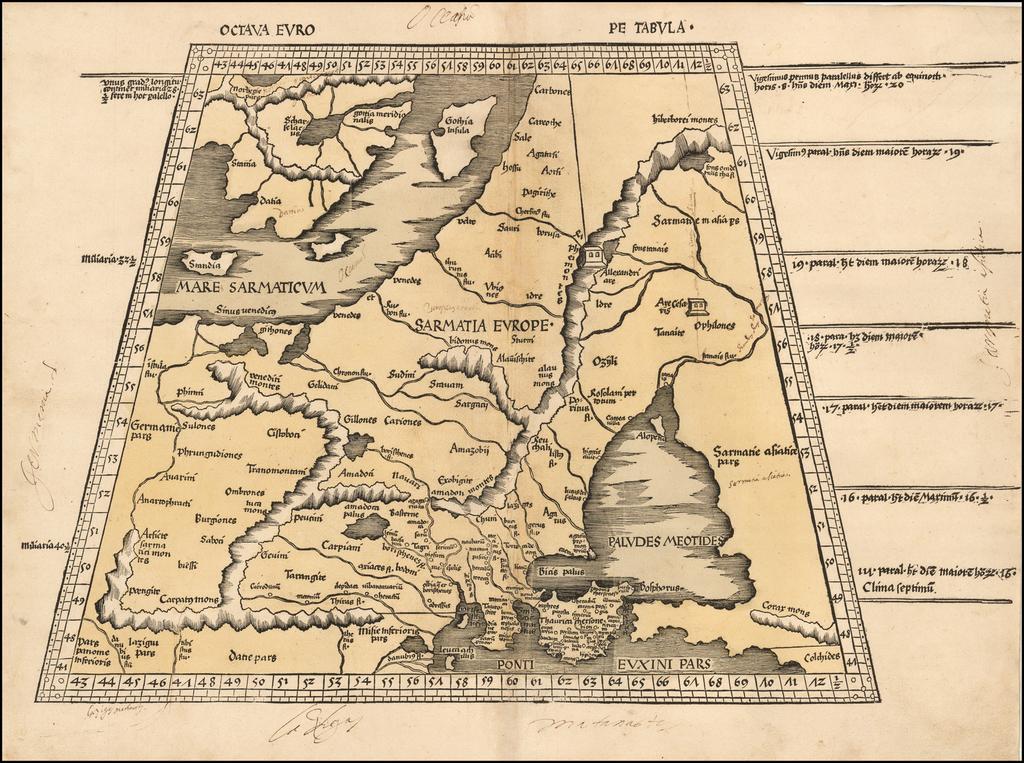 Octava Europe Tabula [Baltic, Scandinavia, Poland & Eastern Europe] By Martin Waldseemüller