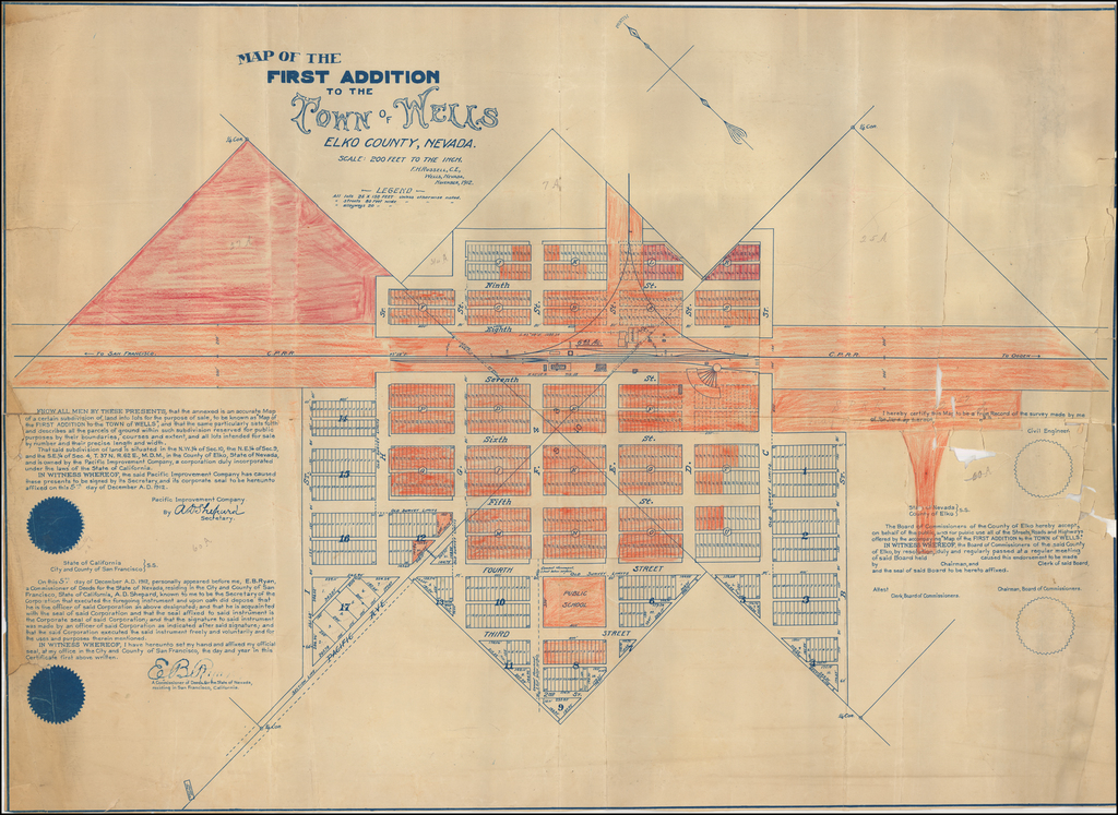 Map of the First Addition To The Town of Wells Elko County, Nevada . . . November, 1912 By F. H. Russell