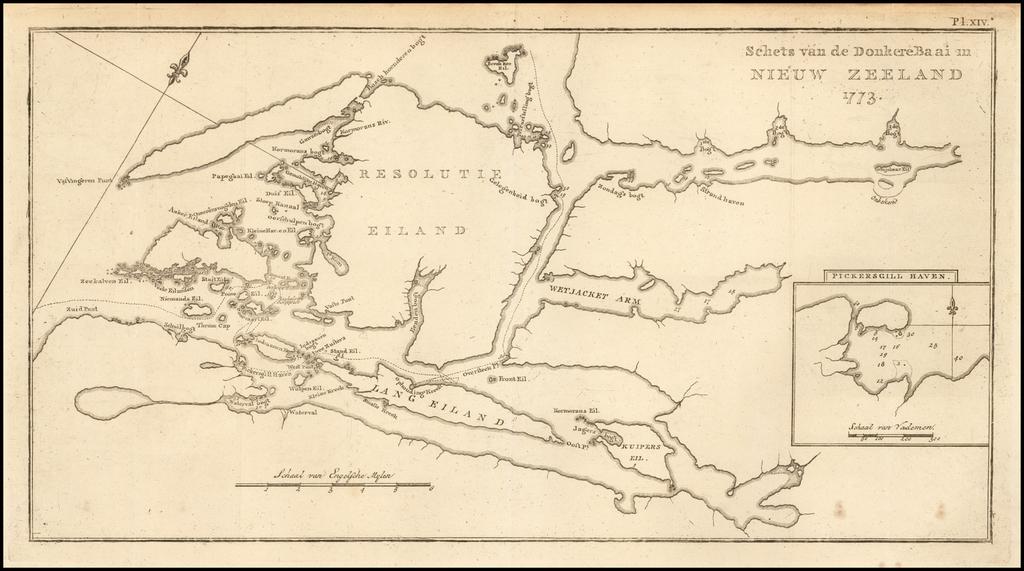 Schets van de DonkereBaai in Nieuw Zeeland 1773. By James Cook